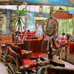 Lounge area at the hot springs, Aguas Calientes, Peru, South America
