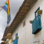 Balconies and flags, San Blas, Cusco, Peru, South America