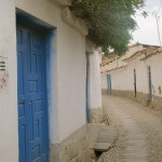 Blue door, San Blas, Cusco, Peru, South America