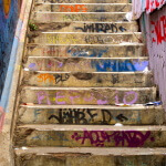 Street art in Valaparaiso, Chile. Staircase with all the steps tagged with graffiti.Street art in Valaparaiso, Chile.