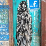 "Street art in Valaparaiso, Chile. ""Faithbook"" or Facebook."