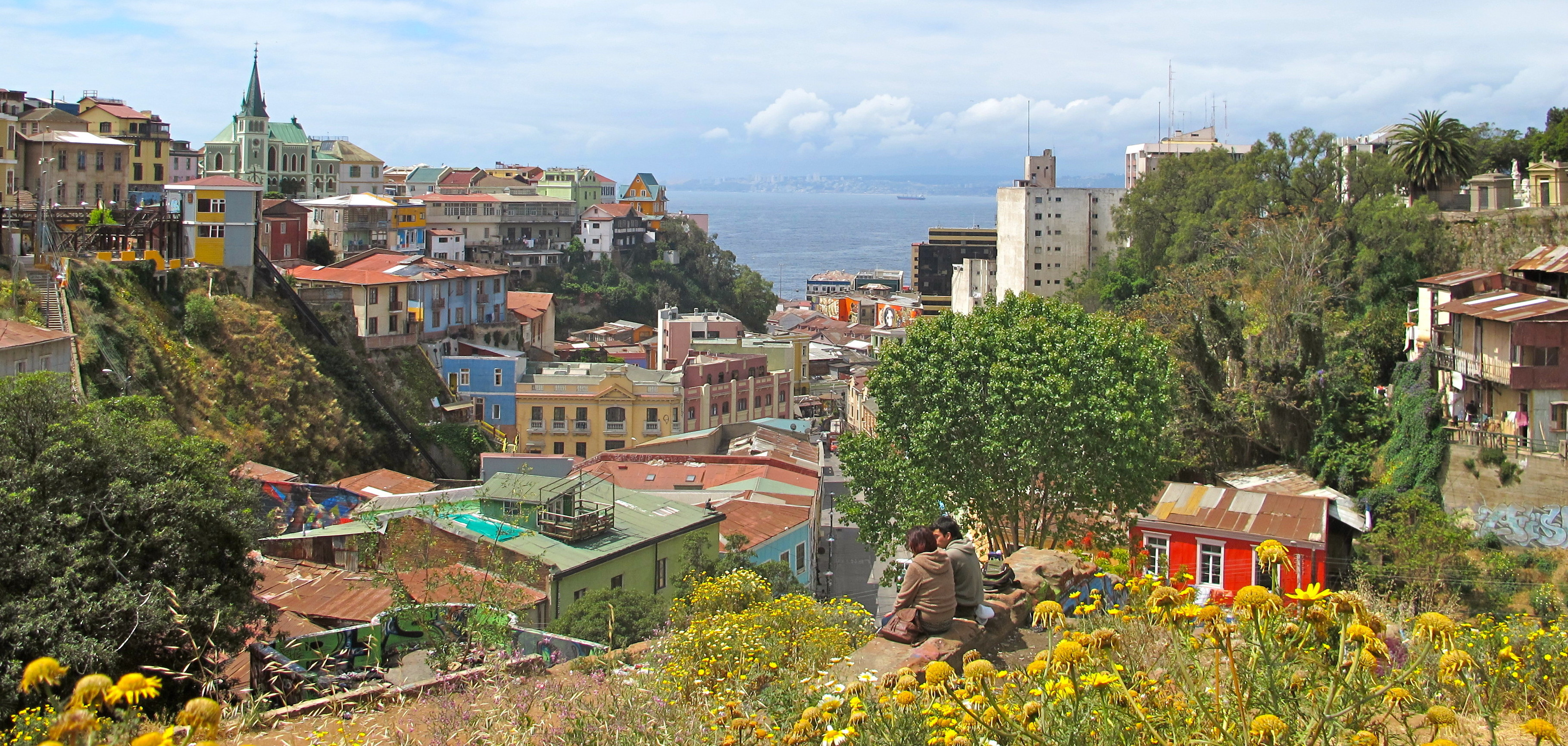 View over Valparaiso and colourful houses, Chile