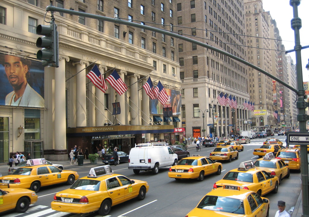 Yellow cabs and traffic in New York