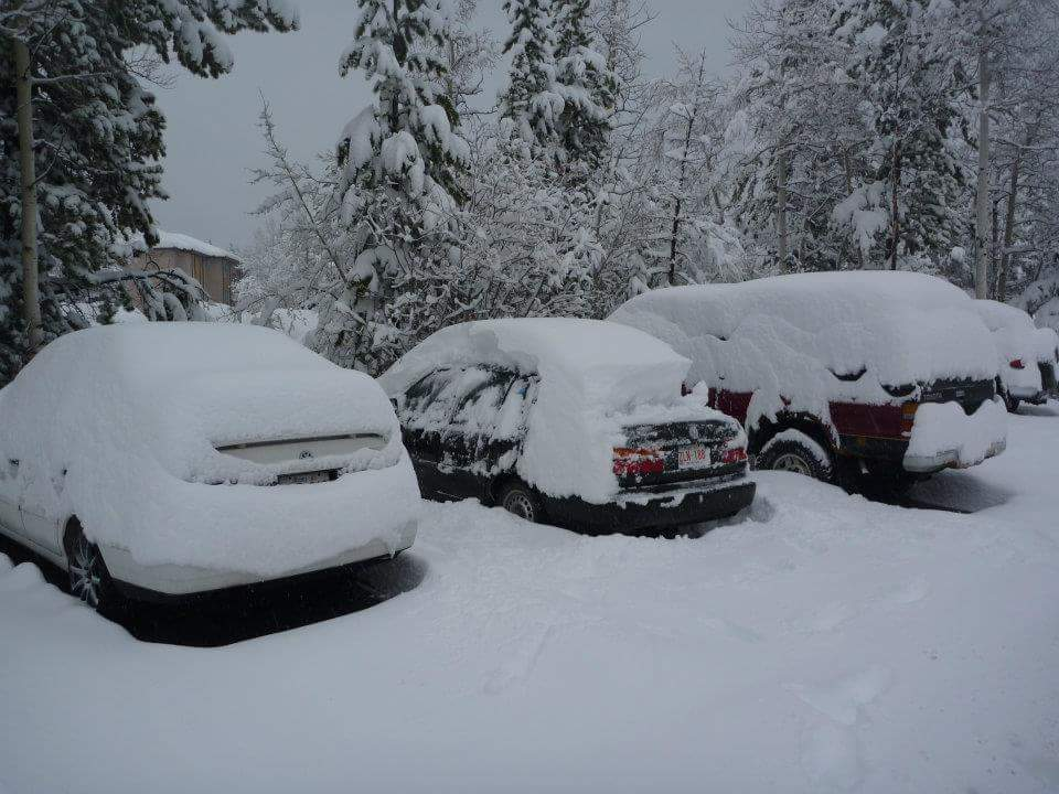 Cars under snow, Canada