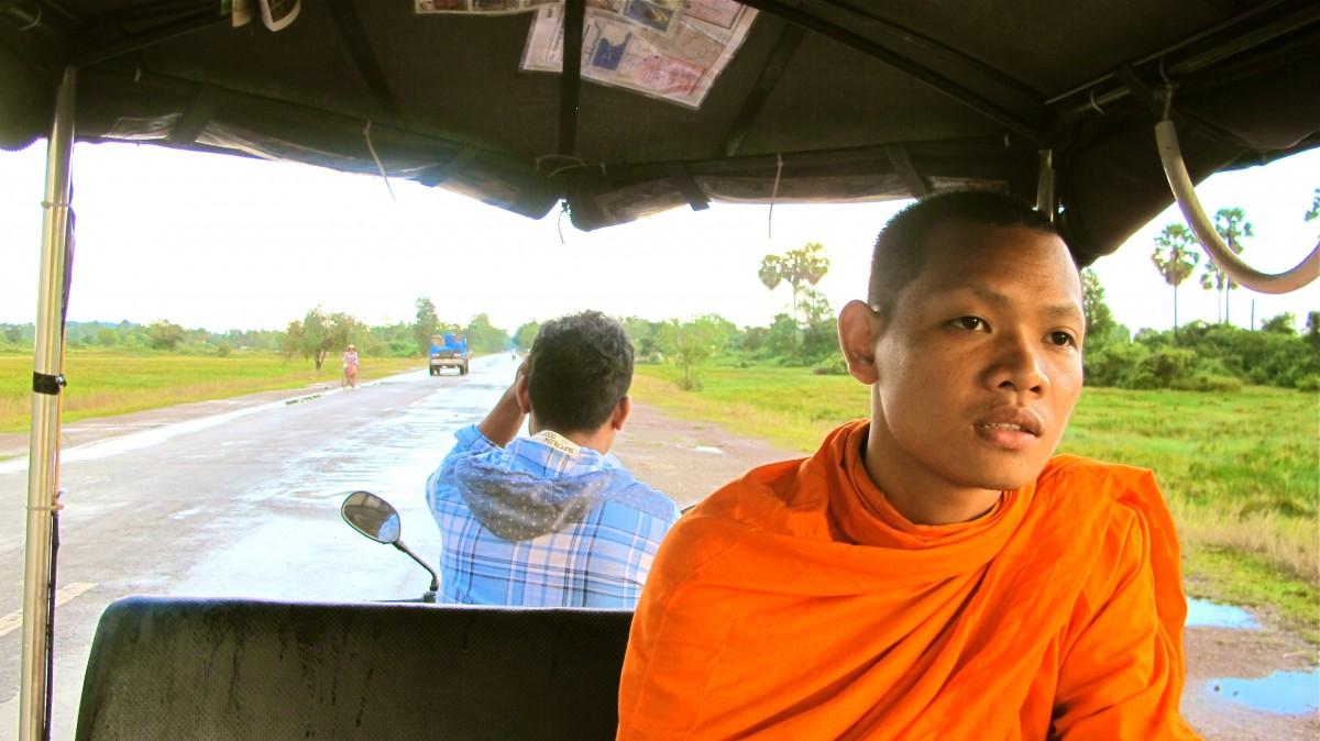 Monk in a tuk-tuk, Siem Reap, Cambodia